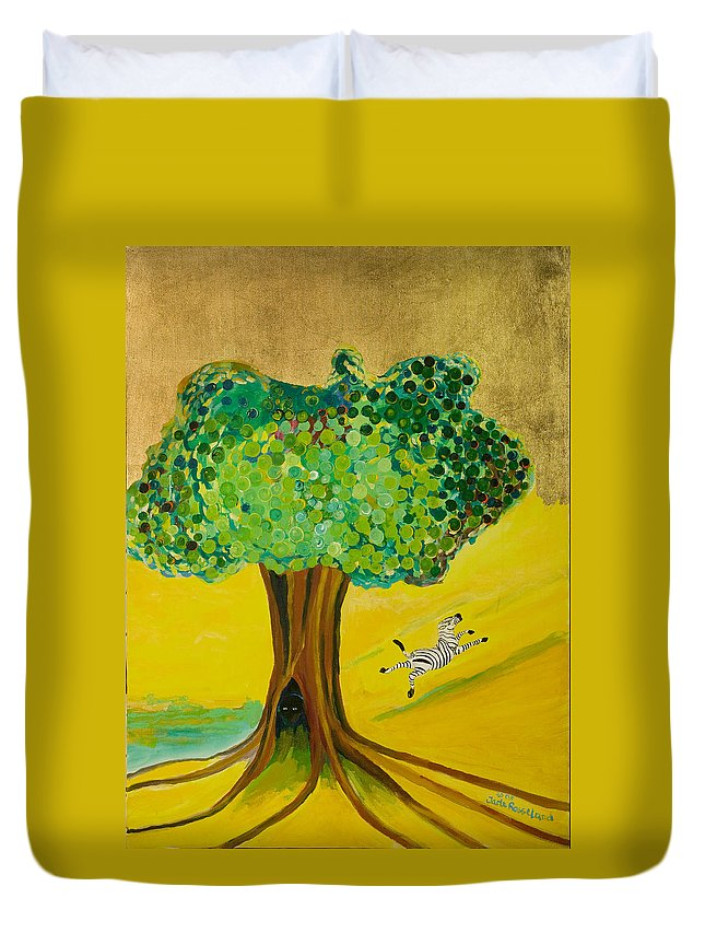 Landscape Duvet Cover featuring the painting Happiness by Jarle Rosseland
