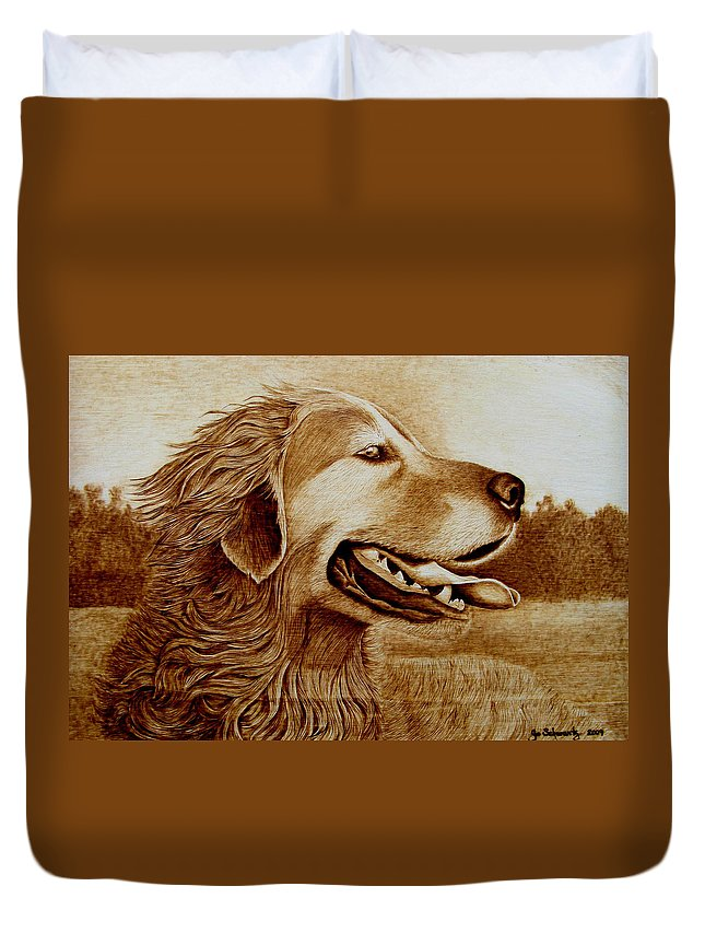 Dog; Setter; Irish Setter; Wind; Happy; Sepia; Woodburning; Pyrography; Hunt; Field;sunshine;tongue Duvet Cover featuring the pyrography Happiness by Jo Schwartz