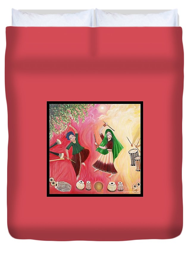 Figurative Duvet Cover featuring the painting Happiness by Usha Rai