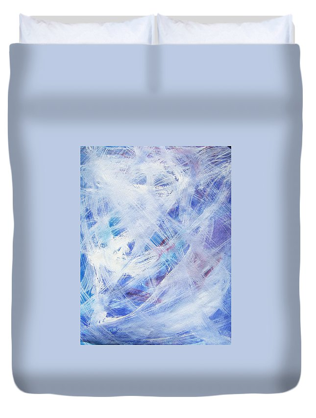 Abstract Duvet Cover featuring the painting Happy Abstract by Lee Serenethos