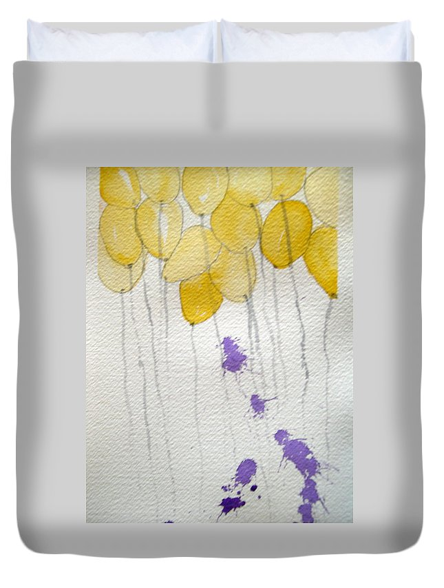 Balloon Celebrate Fun Happy Play Birthday Duvet Cover featuring the painting Happy Birthday Ashleigh by Patricia Caldwell
