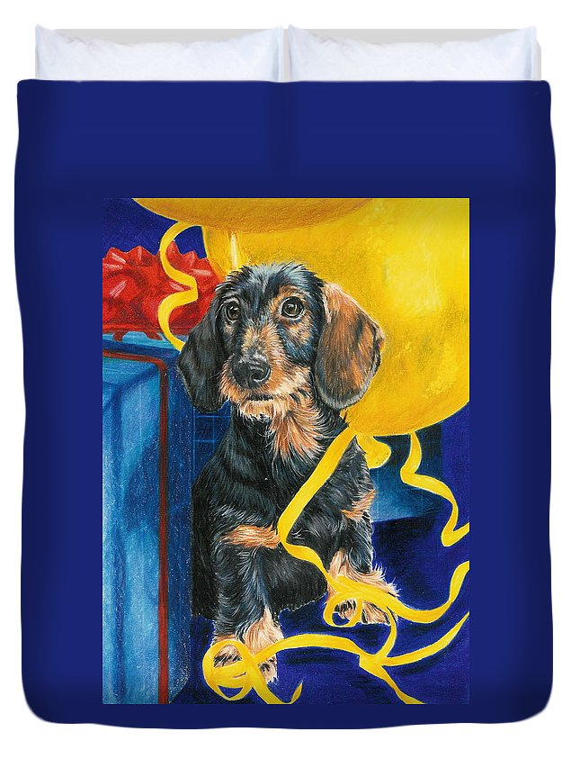 Dogs Duvet Cover featuring the drawing Happy Birthday by Barbara Keith
