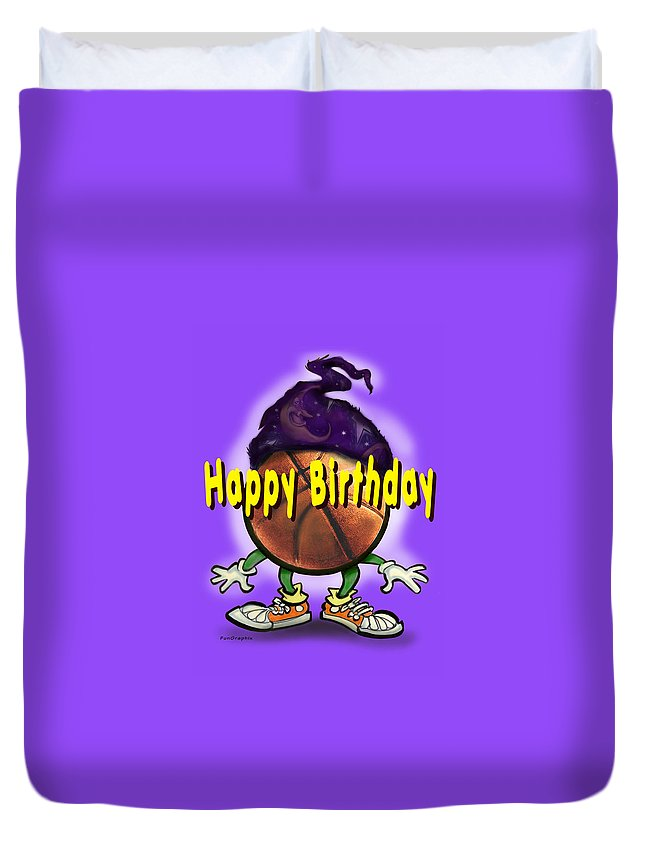 Happy Birthday Duvet Cover featuring the greeting card Happy Birthday Basketball Wiz by Kevin Middleton
