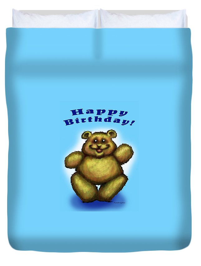 Happy Birthday Duvet Cover featuring the greeting card Happy Birthday Bear by Kevin Middleton