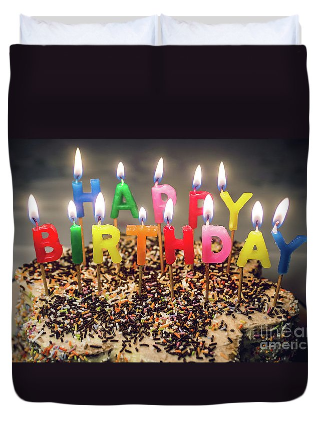 Candles Duvet Cover featuring the photograph Happy Birthday Candles by Carlos Caetano