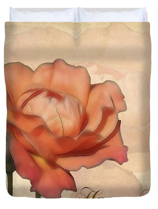 Flower Duvet Cover featuring the photograph Happy Birthday Peach Rose Card by Teresa Zieba