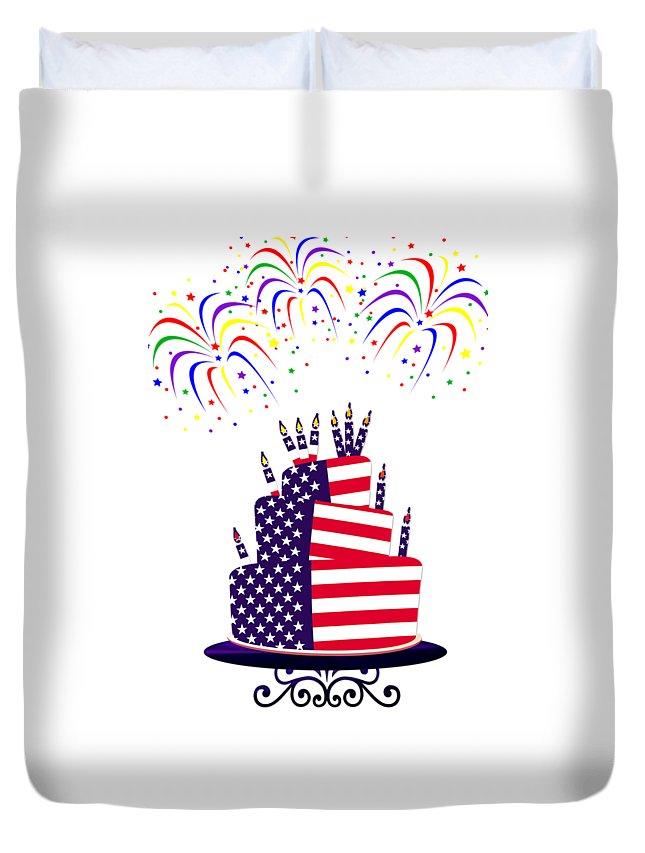 Happy Birthday Usa Duvet Cover featuring the digital art Happy Birthday Usa by Anne Kitzman