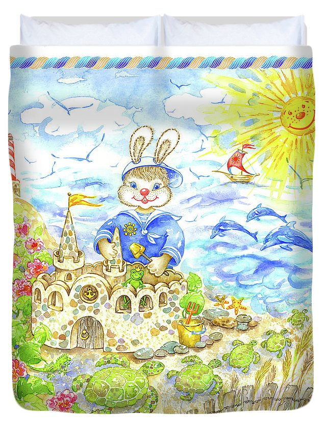 Navy For Kids Duvet Cover featuring the painting Happy Bunny Building Castle by Svetlana Titarenko