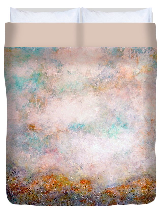 Clouds Duvet Cover featuring the painting Happy Dancing Clouds by Natalie Holland