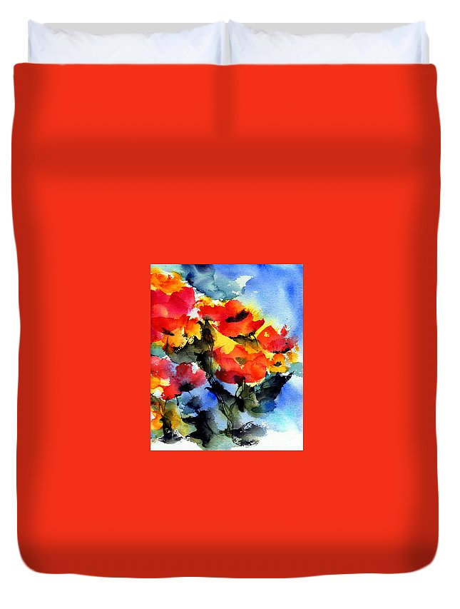 Flowers Duvet Cover featuring the painting Happy Day by Anne Duke