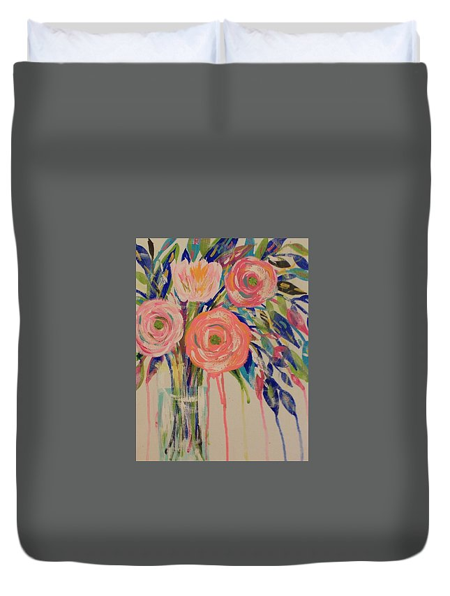 Floral Duvet Cover featuring the painting Happy Day by Melisa Farthing