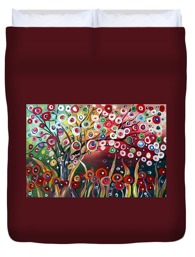 Landscape Duvet Cover featuring the painting Happy Days by Luiza Vizoli