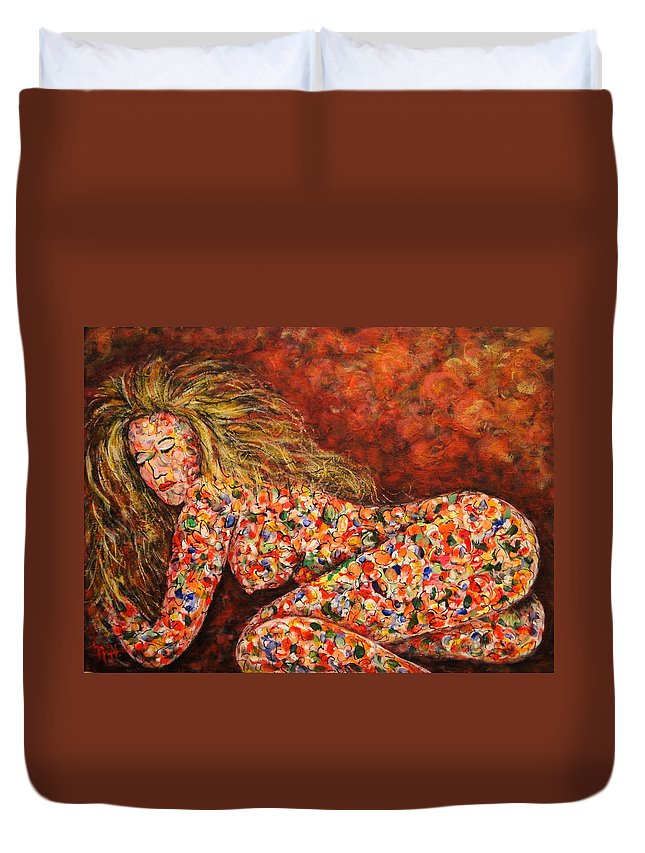 Sleeping Nude Duvet Cover featuring the painting Happy Dream by Natalie Holland