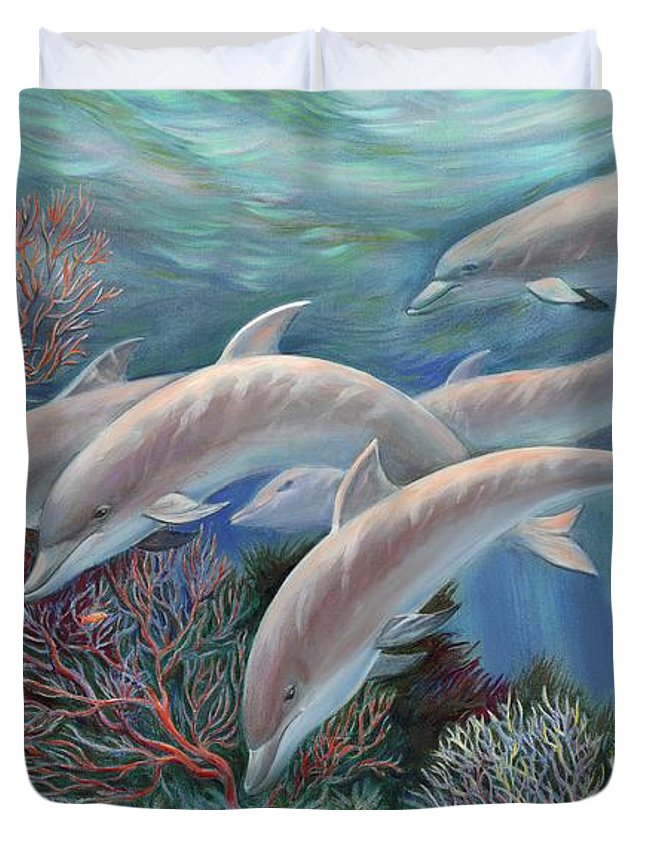 Dolphin Duvet Cover featuring the painting Happy Family - Dolphins Are Awesome by Svitozar Nenyuk
