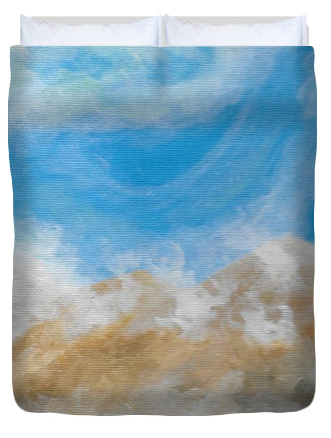 Happy Duvet Cover featuring the painting Happy Fog by Eric Atherton