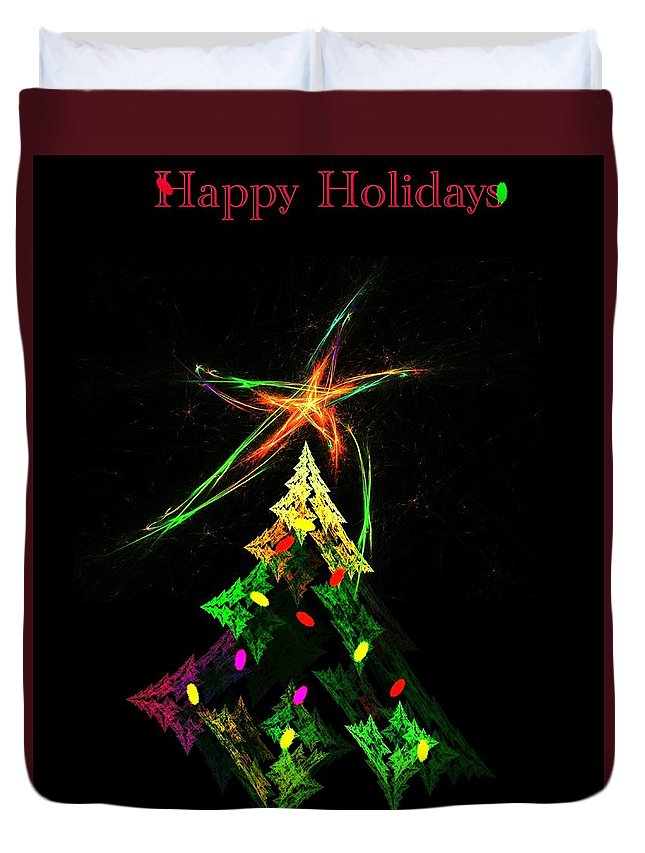 Abstract Digital Painting Duvet Cover featuring the digital art Happy Fractal Holidays by David Lane