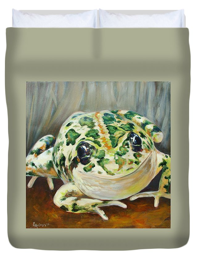 Frog Duvet Cover featuring the painting Happy Frog by Ekaterina Mortensen