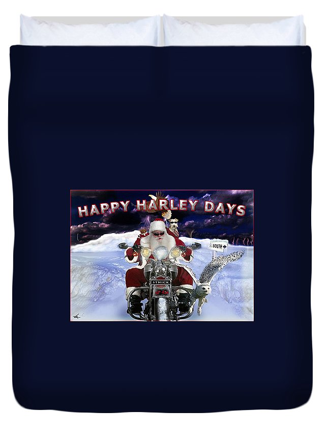 Santa Duvet Cover featuring the digital art Happy Harley Days by Larry Rice