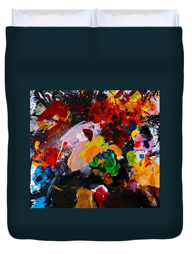 Abstract Duvet Cover featuring the painting Happy Harmony by Natalie Holland