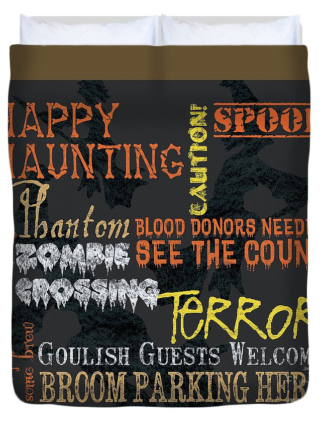 Halloween Duvet Cover featuring the painting Happy Haunting Typography by Debbie DeWitt