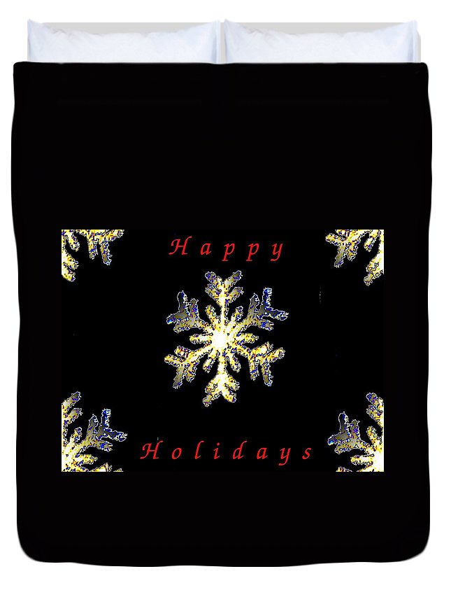 Holiday Duvet Cover featuring the photograph Happy Holiday Snowflakes by Tim Allen