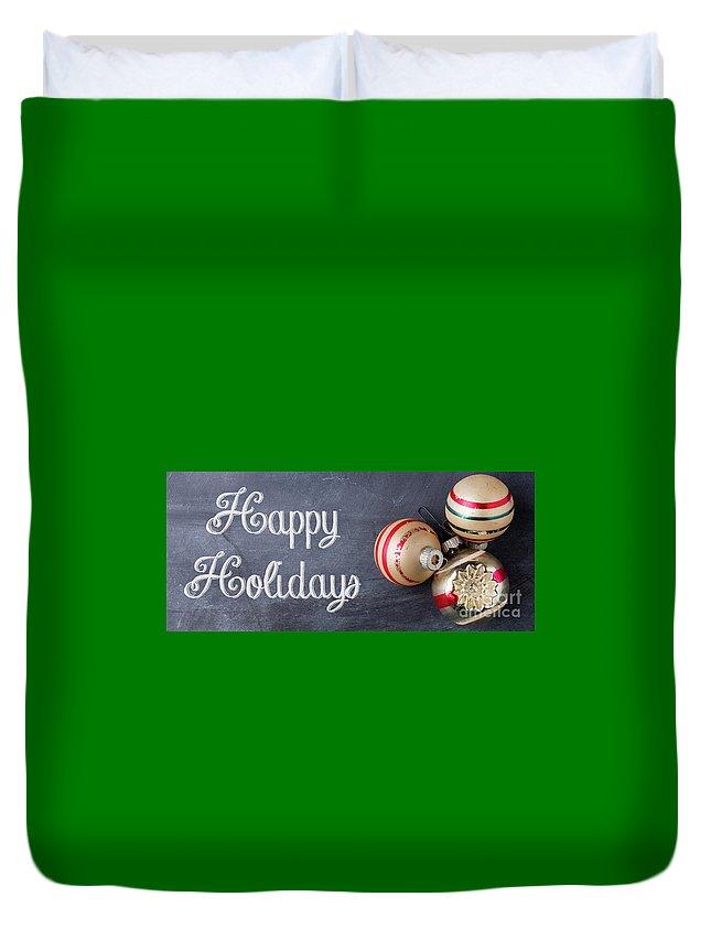 Mug Duvet Cover featuring the photograph Happy Holidays Chalkboard Mug by Edward Fielding