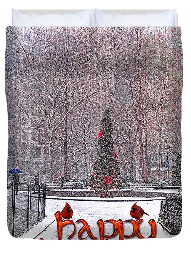 Card Duvet Cover featuring the photograph Happy Holidays by Chris Lord