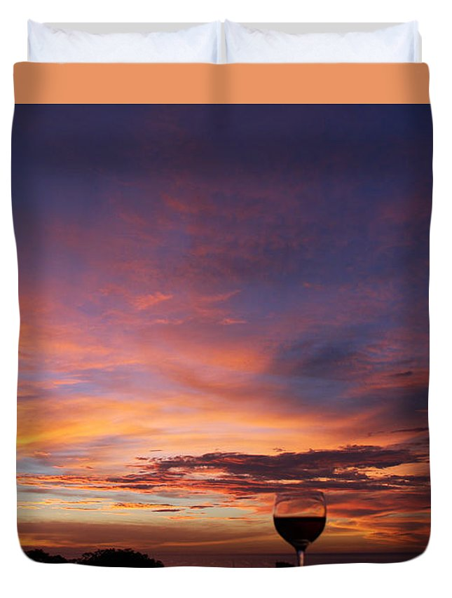 Vino Glass Of Wine Sunset Costa Rica Beauty Happy Hour Duvet Cover featuring the photograph Happy Hour by Sandy Campbell