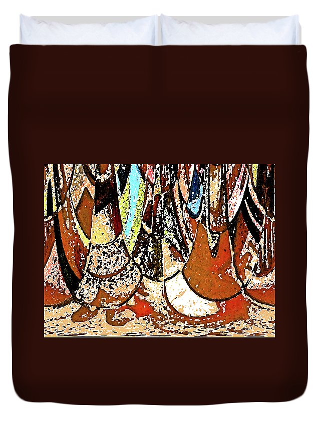Abstract Duvet Cover featuring the digital art Happy In My Village by Lenore Senior
