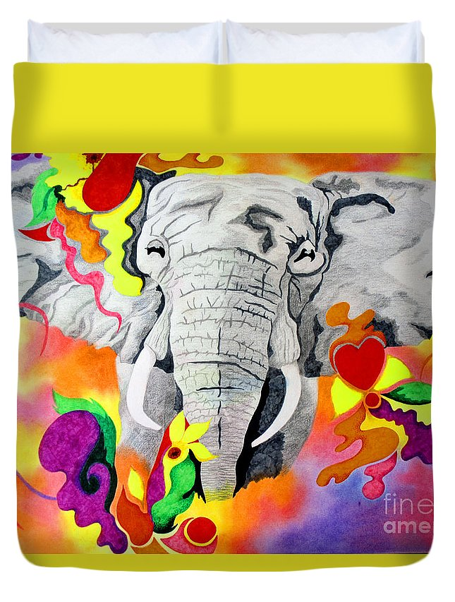 Animal Duvet Cover featuring the drawing Happy by Kathleen Allen