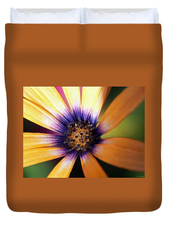 Macro Duvet Cover featuring the photograph Happy by Lauren Radke