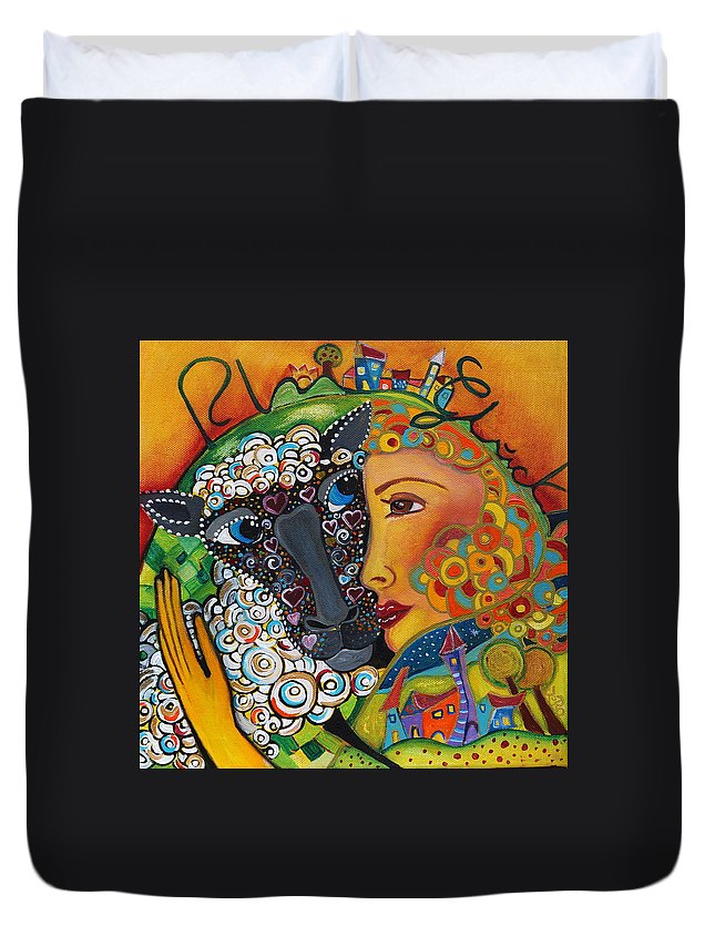 Starchild Duvet Cover featuring the painting Happy Life by Jeanett Rotter