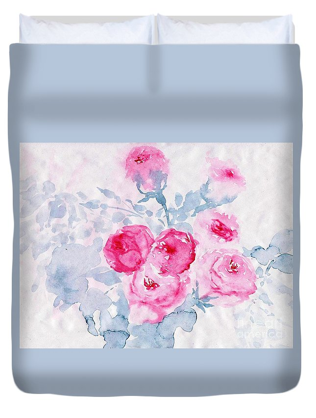 Pink Roses Duvet Cover featuring the painting Happy Magenta -healing Roses -26 by Sweeping Girl