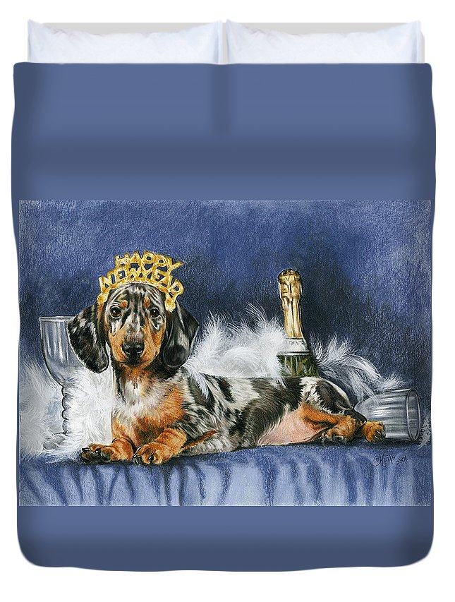 Dog Duvet Cover featuring the mixed media Happy New Year by Barbara Keith