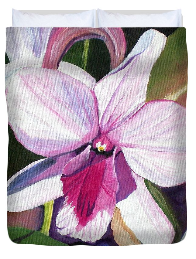 Kauai Duvet Cover featuring the painting Happy Orchid by Marionette Taboniar