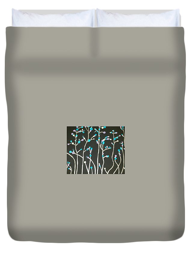 Vines Duvet Cover featuring the painting Happy by Shelby Heck