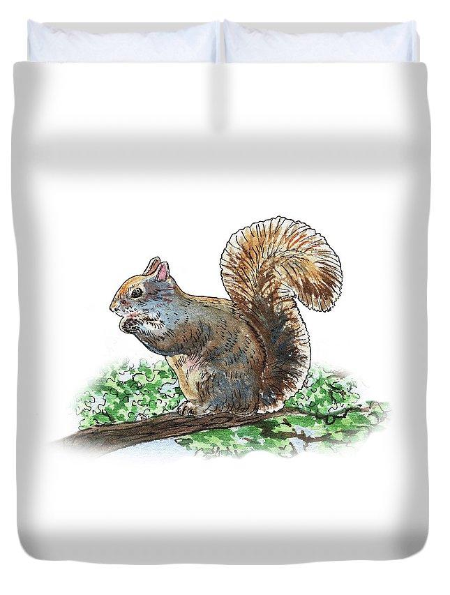 Squirrel Duvet Cover featuring the painting Happy Squirrel by Irina Sztukowski