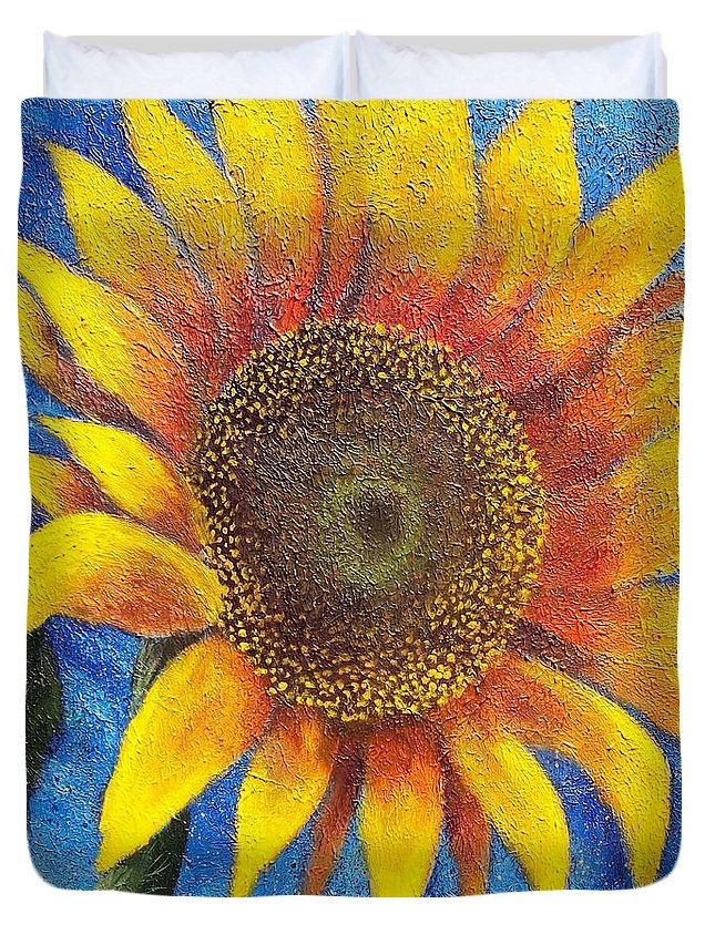Sunflower Duvet Cover featuring the painting Happy Sunflower by Tami Booher