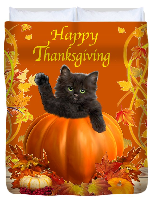 Pumpkin Duvet Cover Featuring The Digital Art Happy Thanksgiving Kitty By Glenn Holbrook