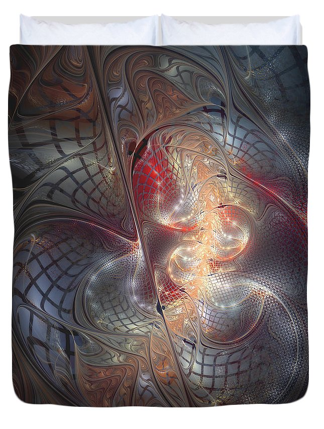 Abstract Duvet Cover featuring the digital art Happy Trails by Casey Kotas