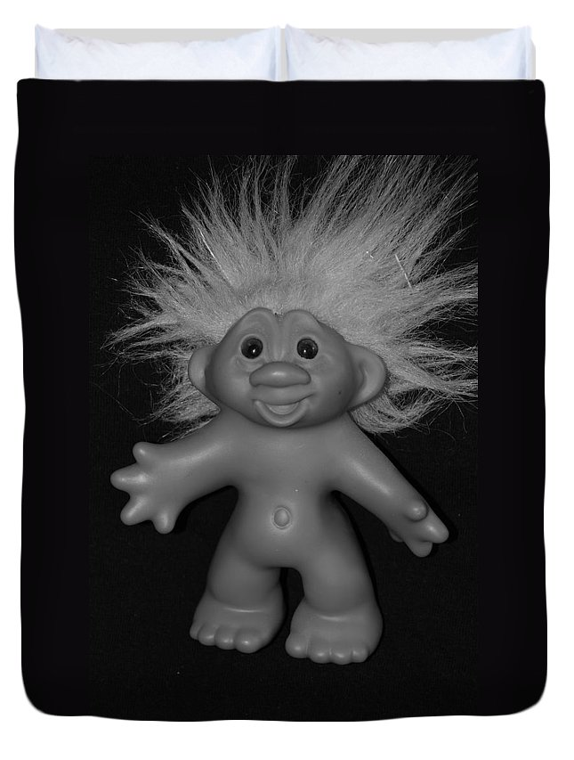 Happy Duvet Cover featuring the photograph Happy Troll by Rob Hans