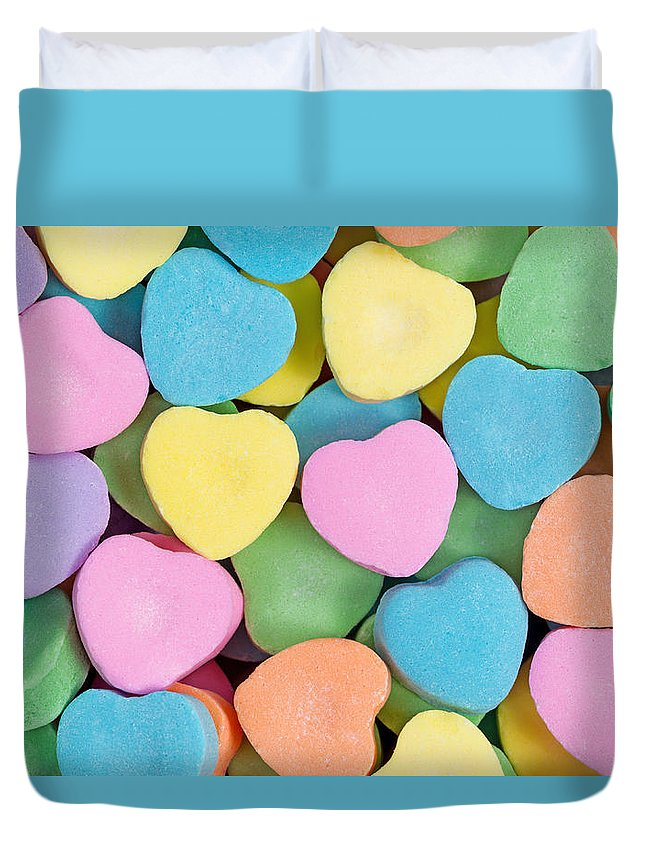 Valentines Duvet Cover featuring the photograph Happy Valentines Day With Colorful Heart Shaped Candies by Thomas Baker