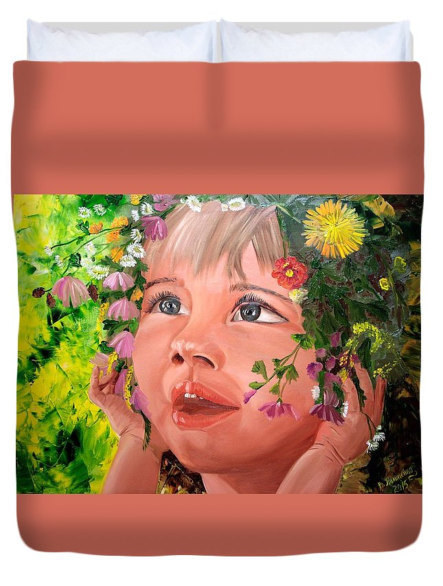 Summer Duvet Cover featuring the painting Happynes by Valentyna Pylypenko