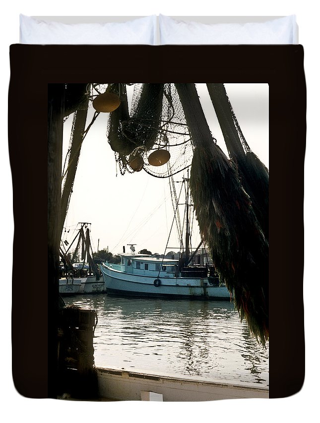 Harbor Duvet Cover featuring the photograph Harbor Boats by Douglas Barnett