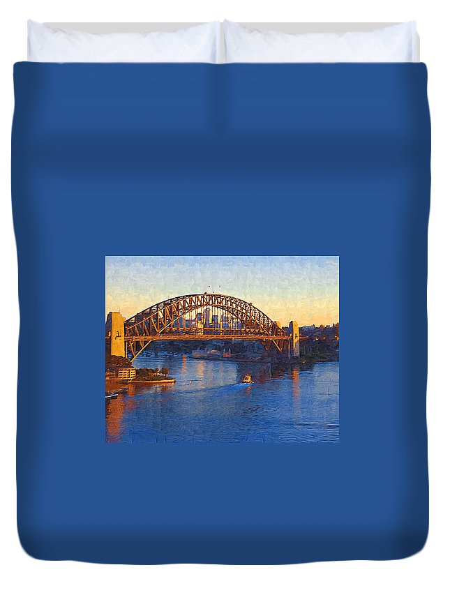 Sydney Duvet Cover featuring the photograph Harbor Bridge At Sunset by Tom Reynen