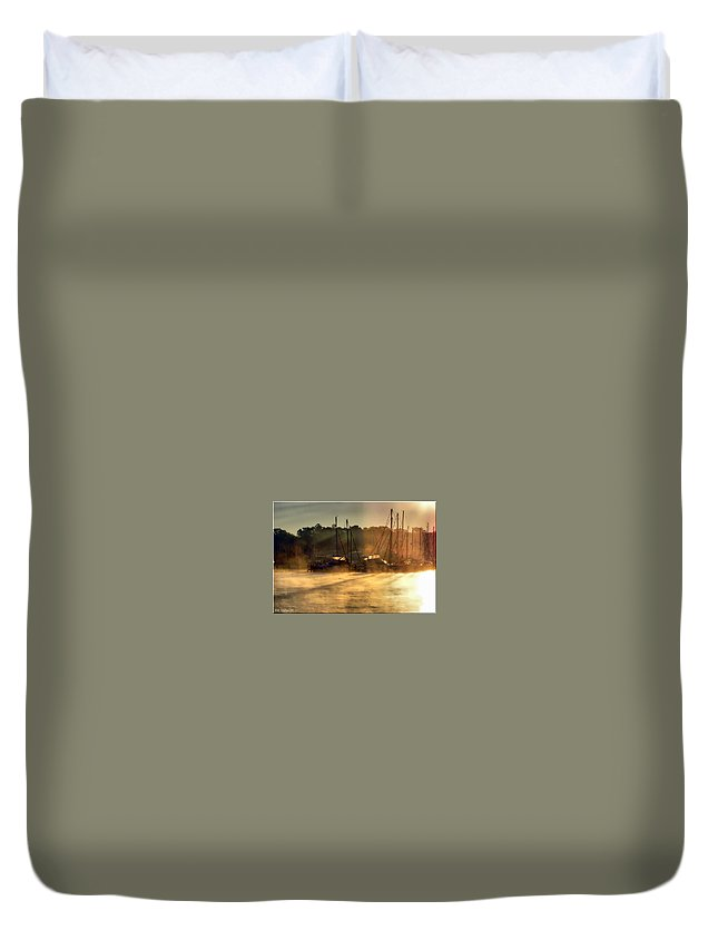 2d Duvet Cover featuring the photograph Harbor Mist by Brian Wallace