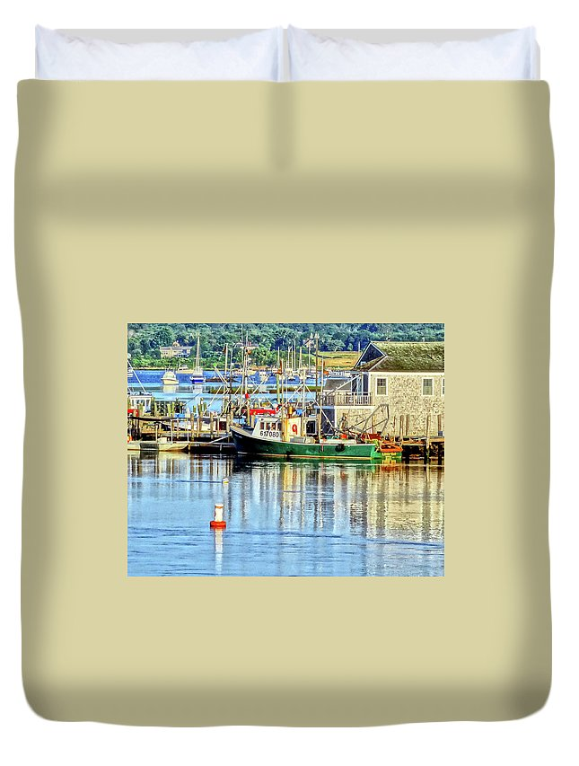Lobster Duvet Cover featuring the digital art Harbor Morning by Wayne Wescott
