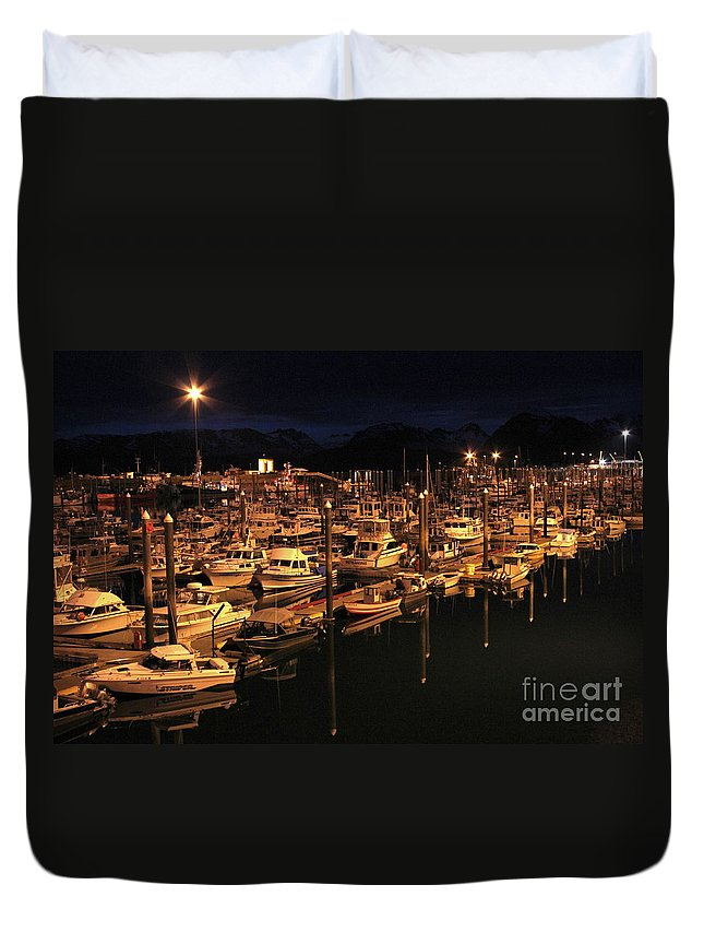 Harbor Duvet Cover featuring the photograph Harbor Night by Rick Monyahan