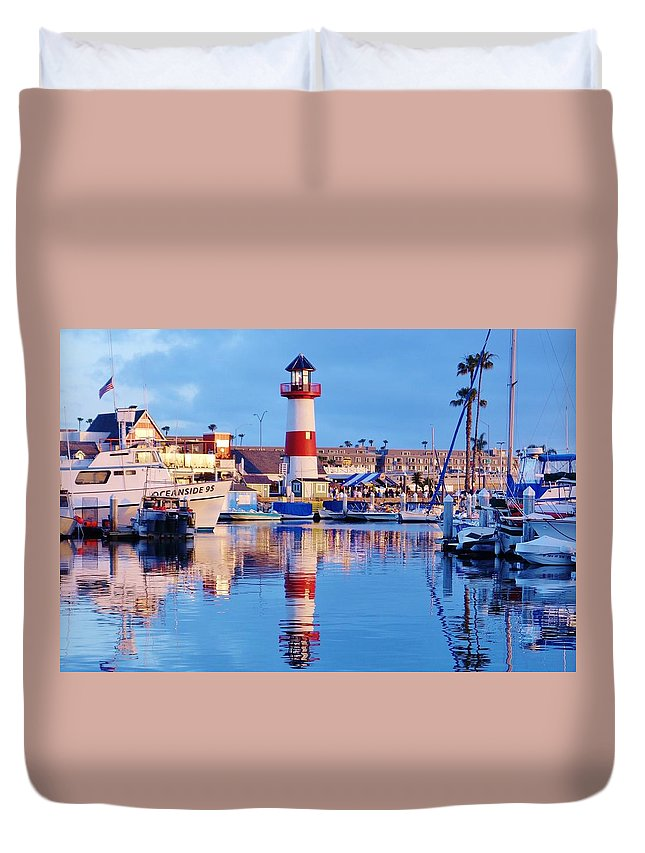 Harbor Duvet Cover featuring the photograph Harbor Reflections by Allissa Thompson