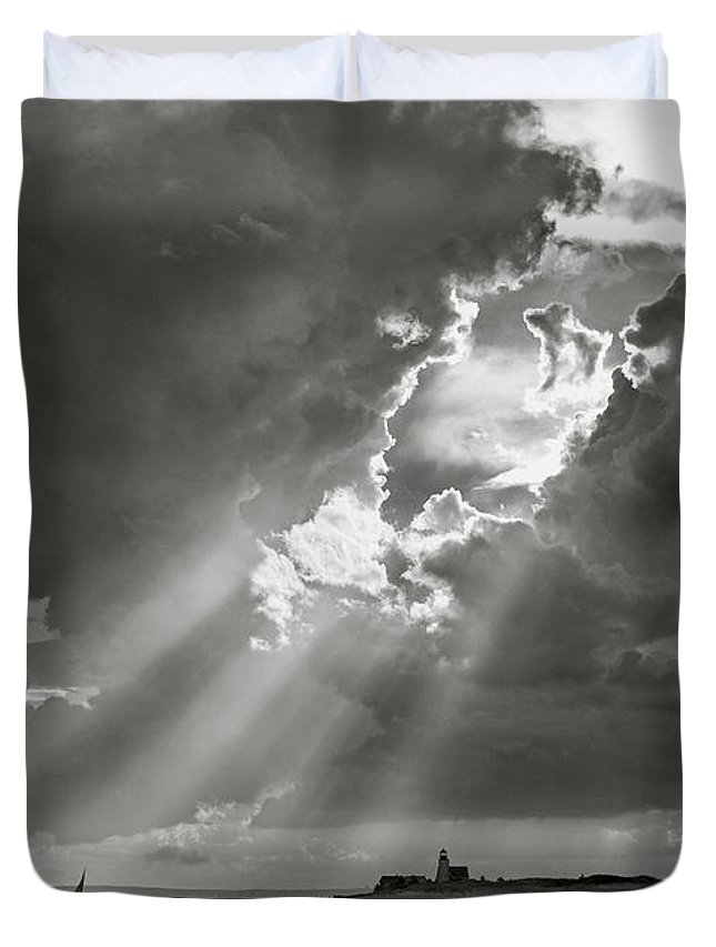 Barnstable Duvet Cover featuring the photograph Harbor Sail by Charles Harden
